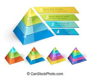 Pyramid chart templates - Vector pyramid chart isometric 3d...