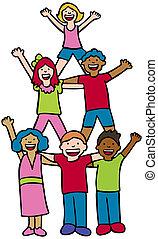 Pyramid Cheer Children - Group of diverse children standing...