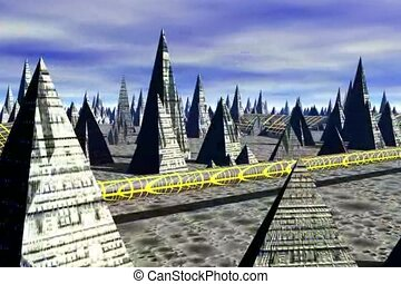 Pyramid City 3D Off World - A Flight through a3D Off World...