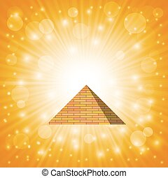 Pyramid on Hot Sun Sky Background for Your Design