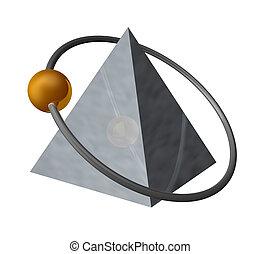 pyramid - golden ball fly around a metal pyramid - 3d...