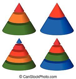 Pyramid, cone charts. 3-2-5-4 levels. Multilevel triangle 3d...