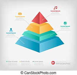 Pyramid cone info chart graphic for business design. -...
