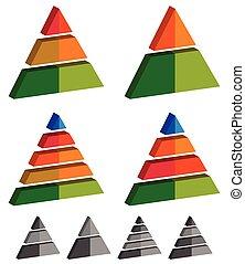Pyramid, cone, triangle charts, graphs. 3-2-5-4 level,...