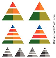 Pyramid, cone, triangle charts, graphs. 3-2-5-4 level, multilevel infographics, presentation elements