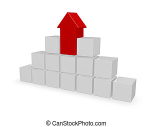 pyramid - cubes and arrow on white background - 3d...