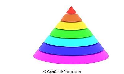 Pyramid cylyndric chart rainbow color 3d illustration