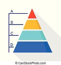 Pyramid diagram icon, flat style