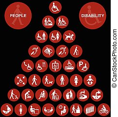 Pyramid disability and people Icon