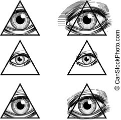 Pyramid Eyes Vector - Illuminati conspiracy theory ...