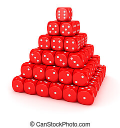 Pyramid from red dice