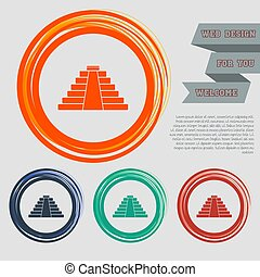 pyramid icon on the red, blue, green, orange buttons for your website and design with space text. Vector