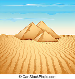 Pyramid in Desert - illustration of pyramid structure on...