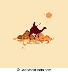 Pyramid in desert, traveling