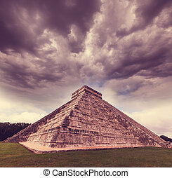 Pyramid in Mexico - Kukulkan Pyramid in Chichen Itza Site,...