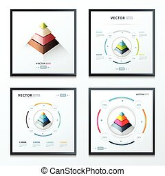 pyramid infographic set