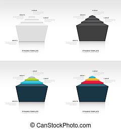 pyramid infographic template design set