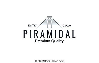 pyramid line art outline minimalist logo vector  illustration design