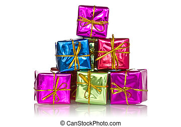 Pyramid made from color gift boxes
