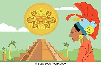 Pyramid Maya, chief of tribe Maya. Vector Mayan.