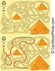Pyramid maze for kids with a solution