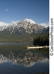 Pyramid Mountain - Reflected in Pyramid Lake, Jasper ...