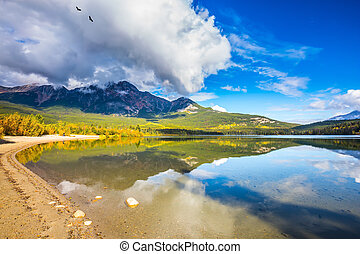 Pyramid Mountain reflected in the Pyramid Lake - Pyramid ...