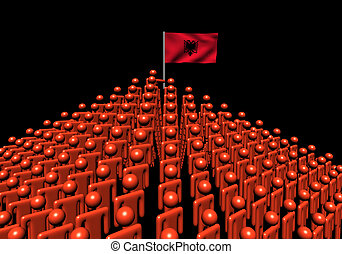 Pyramid of abstract people with Albania flag illustration