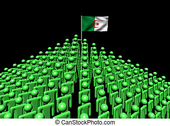 Pyramid of abstract people with Algeria flag illustration