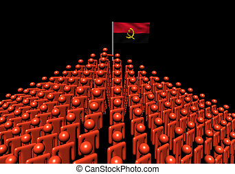 Pyramid of abstract people with Angola flag illustration