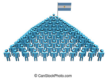 Pyramid of abstract people with Argentina flag illustration