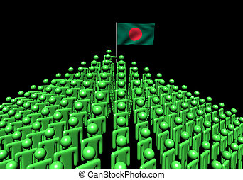 Pyramid of abstract people with Bangladesh flag illustration
