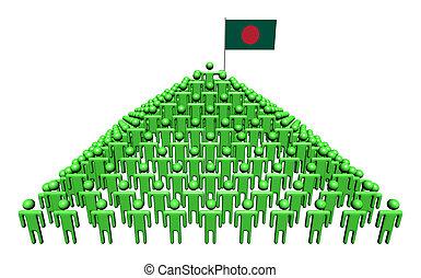 Pyramid of abstract people with Bangladeshi flag illustration