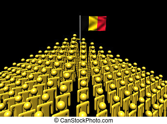 Pyramid of abstract people with Belgian flag illustration