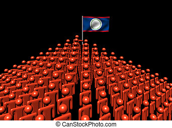 Pyramid of abstract people with Belize flag illustration