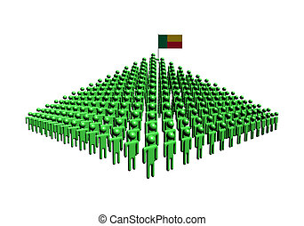 Pyramid of abstract people with Benin flag illustration