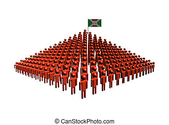 Pyramid of abstract people with Burundi flag illustration
