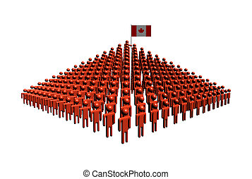 Pyramid of abstract people with Canadian flag illustration