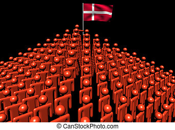 Pyramid of abstract people with Denmark flag illustration