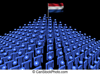 Pyramid of abstract people with Dutch flag illustration
