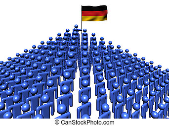 Pyramid of abstract people with German flag illustration