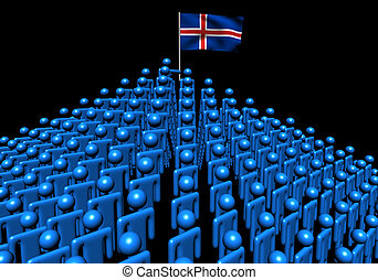 Pyramid of abstract people with Iceland flag illustration