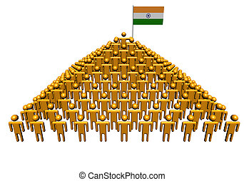 Pyramid of abstract people with Indian flag illustration