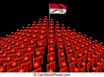 Pyramid of abstract people with Indonesia flag illustration