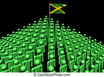 Pyramid of abstract people with Jamaica flag illustration