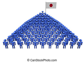 Pyramid of abstract people with Japanese flag illustration