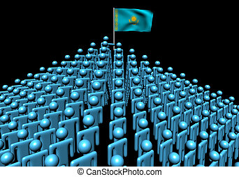 Pyramid of abstract people with Kazakhstan flag illustration
