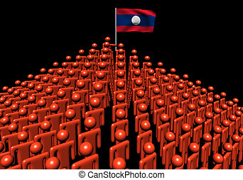 Pyramid of abstract people with Laos flag illustration