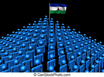 Pyramid of abstract people with Lesotho flag illustration