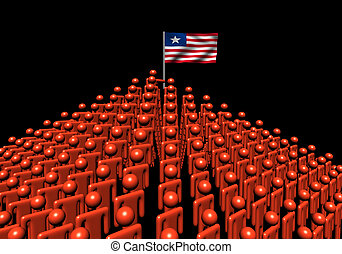 Pyramid of abstract people with Liberia flag illustration